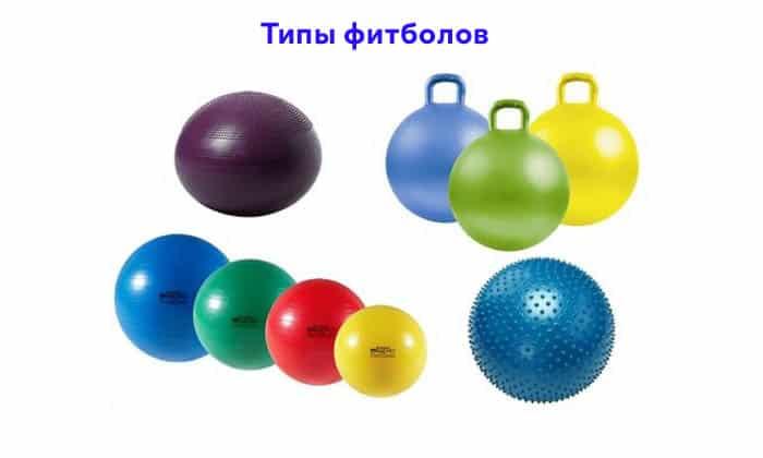Фитболы различаются по размеру, типу поверхности (гладкие, массажные)