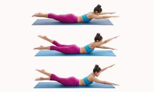 Лежа на животе, поднимать противоположные ногу и руку это пример классических упражнений
