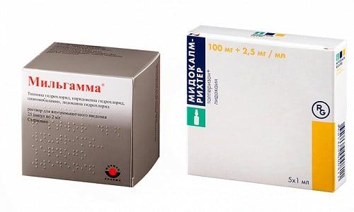 Для стабилизации работы НС назначают препараты Мидокалм и Мильгамма