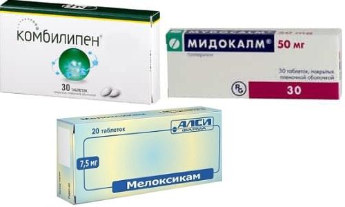 Чтобы избавиться от боли при остеохондрозе, артрозе, спазмах мышц, применяют такие препараты, как Комбилипен, Мелоксикам и Мидокалм